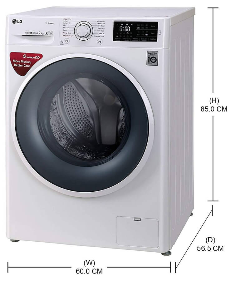 LG FHT1007SNW Washing Machine 7 Kgs Fully Automatic Front Load Dimensions